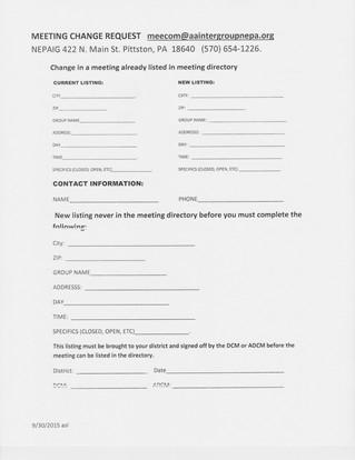 Meeting Change Form