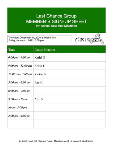 Last Chance Member Sign-up Sheet