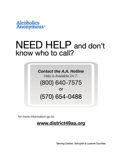 A.A. Hotline Flyer