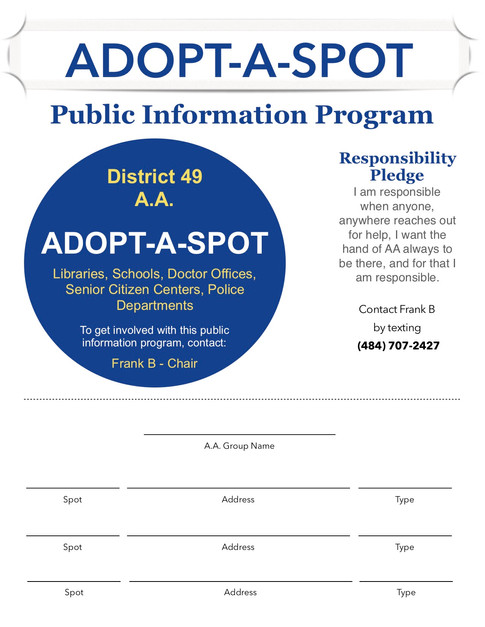 Adopt-A-Spot Registration Form