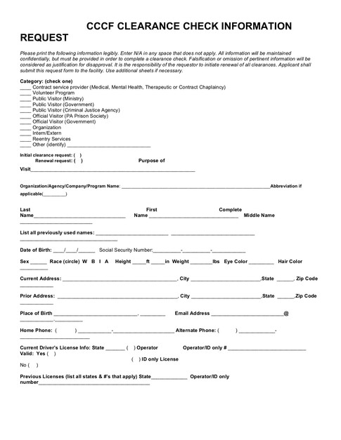 CCCF Clearance Form