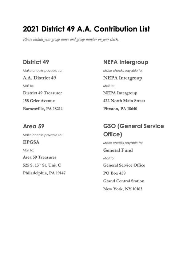 2021 District 49 Contribution List