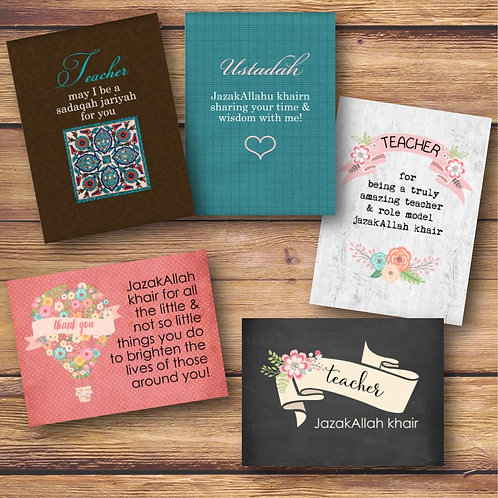 Set of 5 Teacher Cards
