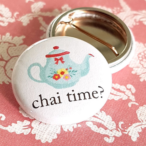 Chai Time Pinback Buttons