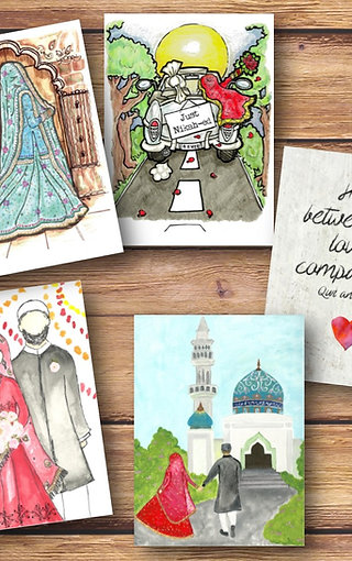 Set of 5 Desi Wedding Cards