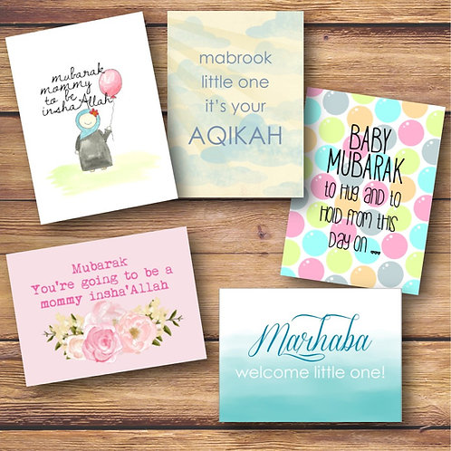 Set of 5 Pastel Baby Cards