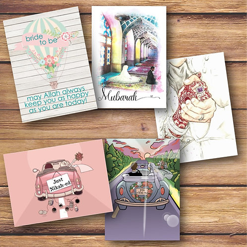 Set of 5 Painted Wedding Cards