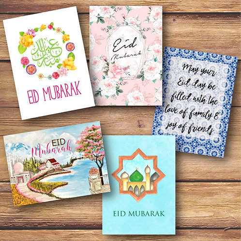 Set of 5 Floral Eid Cards