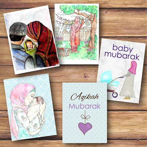 Set of 5 Painted Baby Cards