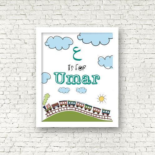 Personalized Umar Train Print