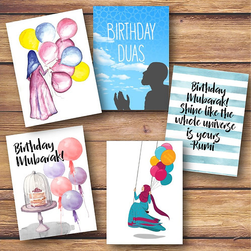 Set of 5 Birthday Cards