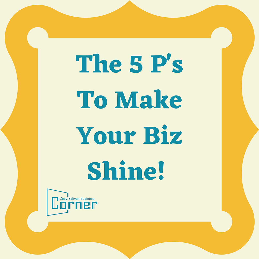 'The 5 P's To Make Your Biz Shine!' written in teal inside a thick gold frame.