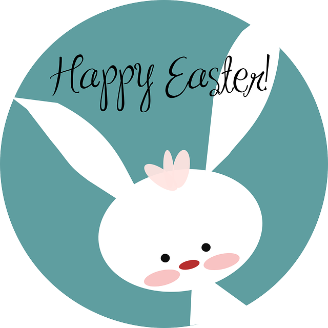 A white bunny rabbit with the words 'Happy Easter!' on top.