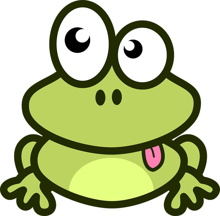 Cartoon frog with tongue sticking out