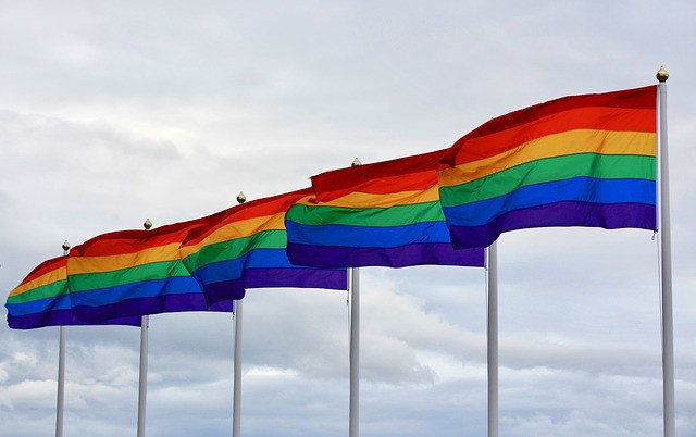 Six pride flags standing beside each other.