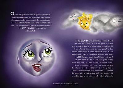 Página dupla do livro Em Busca do Sol