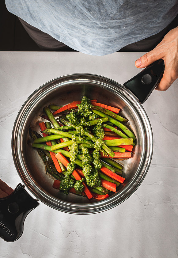 Asparagus & Carrots with Broccoli Pesto-