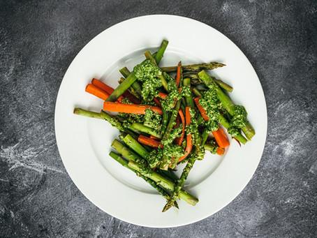Simple Asparagus & Carrots with Broccoli Pesto