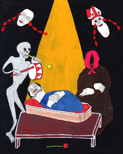 St. Nicholas And The Ghost of A Woman Mourn The Loss of Luca Dipierro While Old Woman Sits Still And Skeleton Plays Funeral March