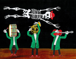 Ossos, tambor, ciel negre