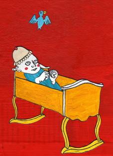 Anima di infante rapita ad opera di uccello azzurro