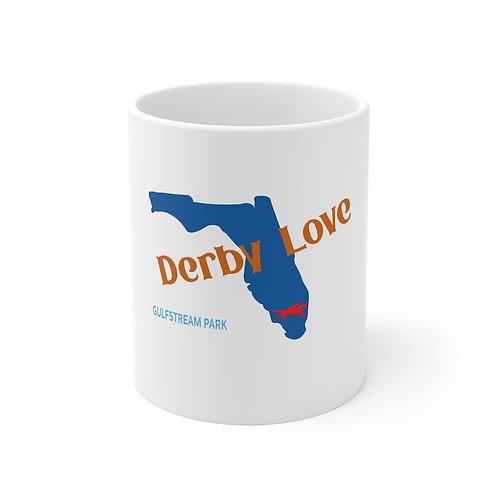 DerbyLove Gulfstream Park Ceramic White Mug Drinkware Coffee Tea Cup