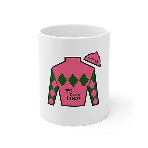 DerbyLove Jockey Club Ceramic White Mug Drinkware Coffee Tea Cup