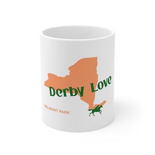 DerbyLove Belmont Park Ceramic White Mug Drinkware Coffee Tea Cup