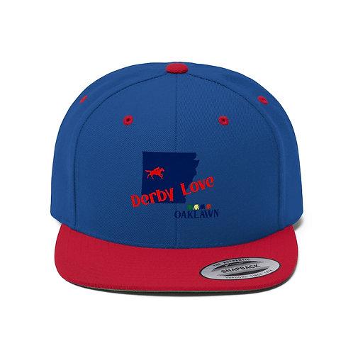 DerbyLove Oaklawn Unisex Flat Bill Hat Fitted Snapback Hip-hop Hat