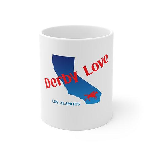 DerbyLove Los Alamitos Ceramic White Mug Drinkware Coffee Tea Cup