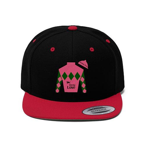 DerbyLove Jockey Club Unisex Flat Bill Hat Fitted Snapback Hip-hop Hat
