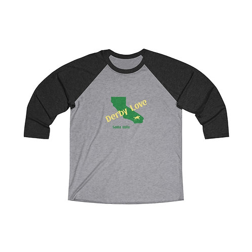 DerbyLove Santa Anita Long Sleeve Unisex Tri-Blend Raglan Tee Streetwear