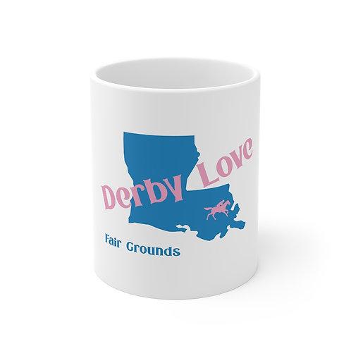 DerbyLove Fair Grounds Ceramic White Mug Drinkware Coffee Tea Cup