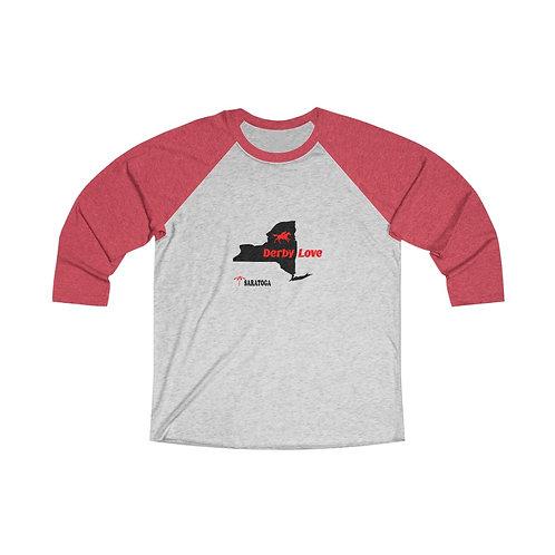 DerbyLove Saratoga Long Sleeve Unisex Tri-Blend Raglan Tee Streetwear