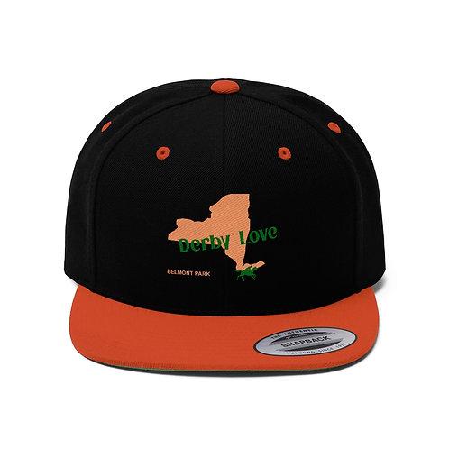 DerbyLove Belmont Park Unisex Flat Bill Hat Fitted Snapback Hip-hop Hat