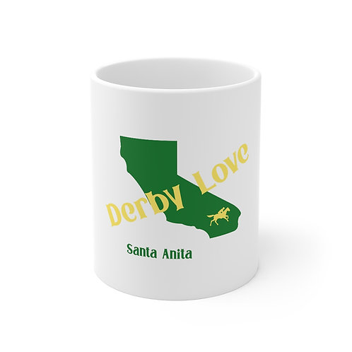 DerbyLove Santa Anita Ceramic White Mug Drinkware Coffee Tea Cup