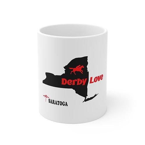 DerbyLove Saratoga Ceramic White Mug Drinkware Coffee Tea Cup