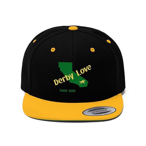DerbyLove Santa Anita Unisex Flat Bill Hat Fitted Snapback Hip-hop Hat