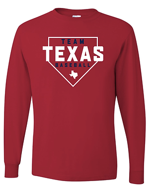 TEAM TEXAS HOME PLATE LONG SLEEVE- RED