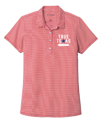 TTP: LADIES GINGHAM PLAID POLO-RED
