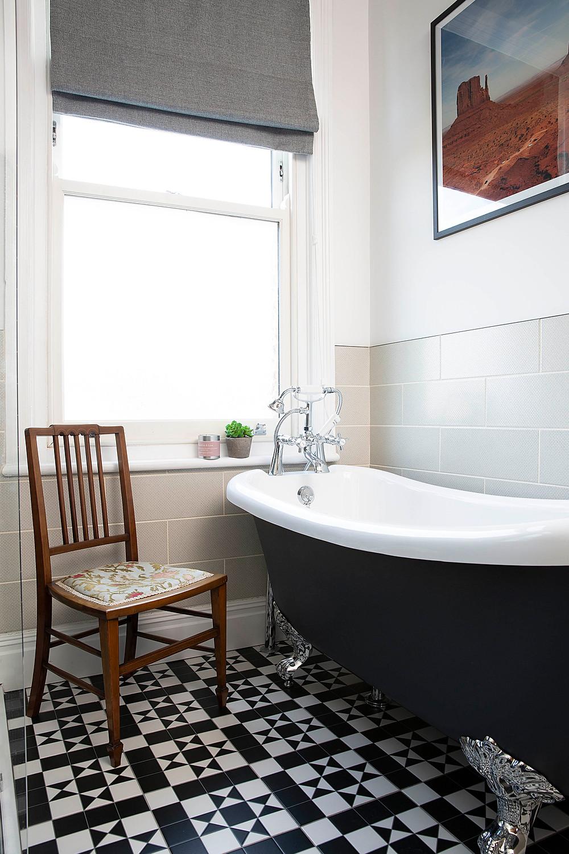 Painted blue freestanding bath