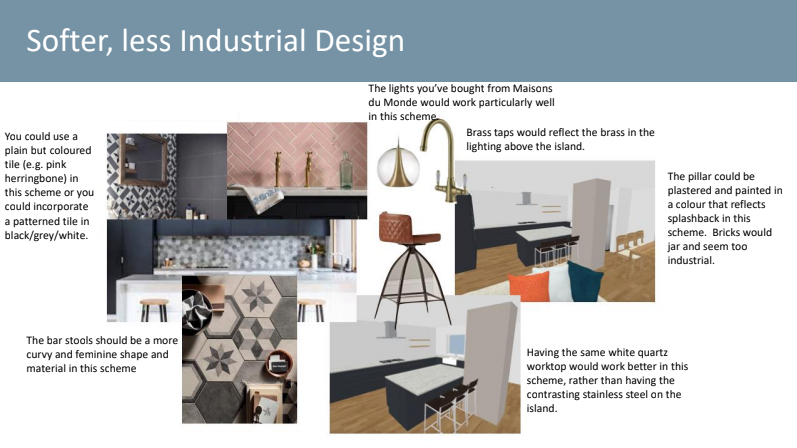 Softer industrial kitchen interior design mood board