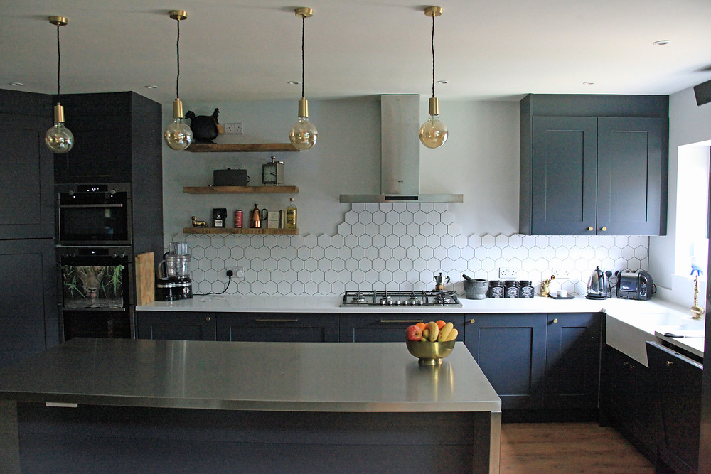 Farrow & Ball Railings kitchen design with stainless steel worktop