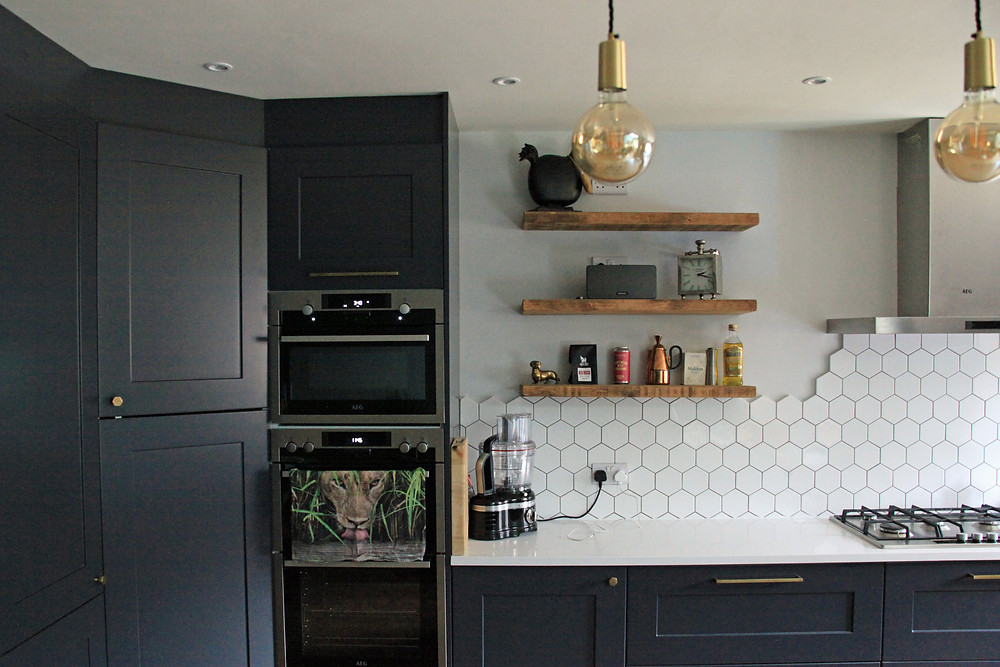 Farrow & Ball Railings kitchen design with white hexagonal tiles