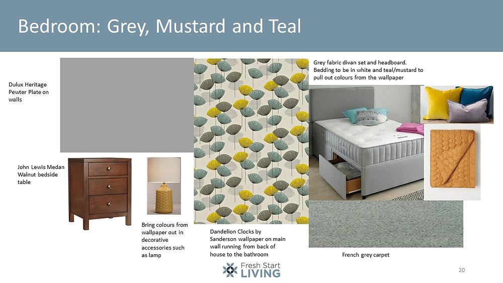 Bedroom, Grey, Mustard & Teal - Fresh Start Living