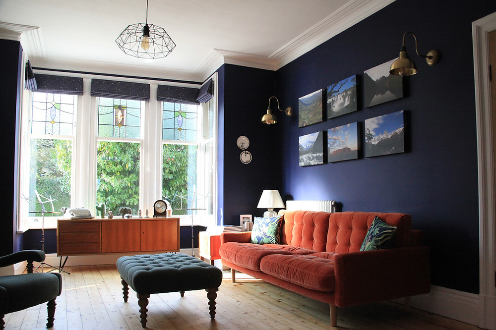 Dark Blue Grown Up Living Room