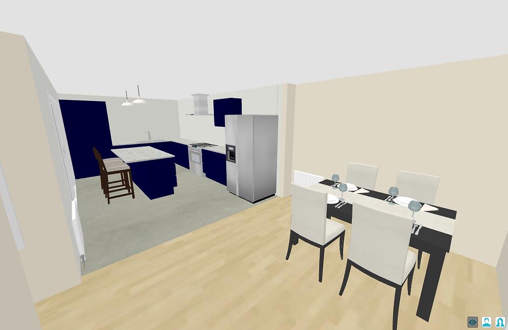 3D Kitchen Diner Plan - Fresh Start Living