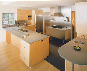 stainess steel appliances, maple, stainless countertops, maple flooring, stainless hood