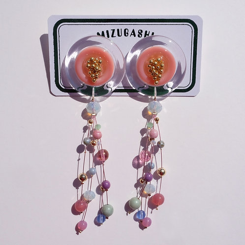 EARRINGS・PINK × MULCH COLOR BEADS