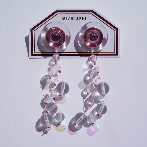 EARRINGS CLEAR × WINE RED × SPANGLE